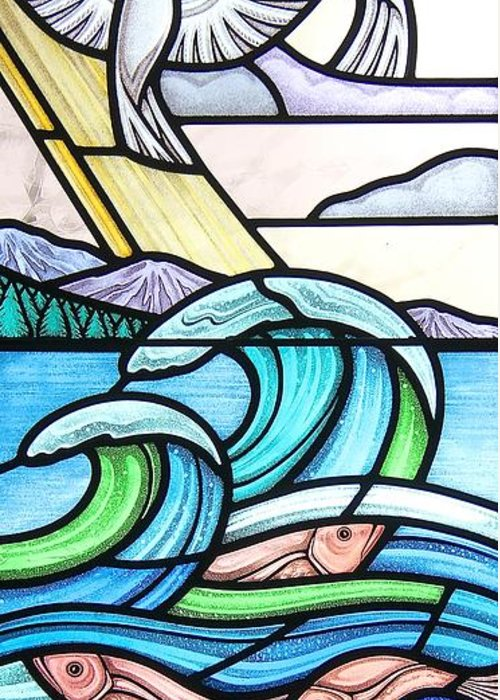 Stained Glass Greeting Card featuring the glass art Seascape by Gilroy Stained Glass