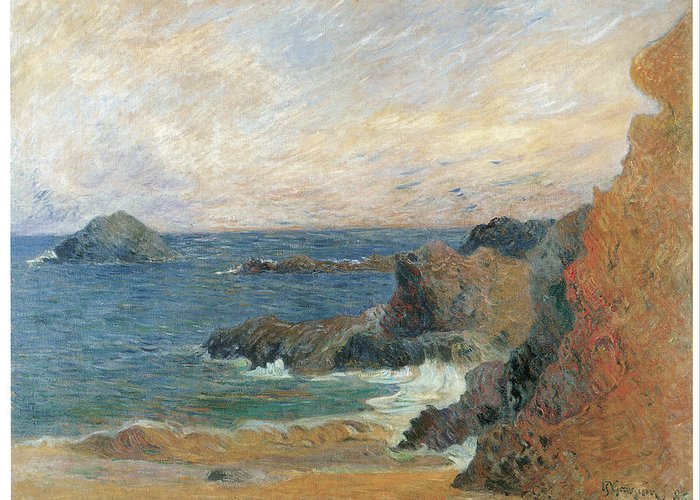 Paul Gauguin Greeting Card featuring the painting Seascape by Paul Guaguin