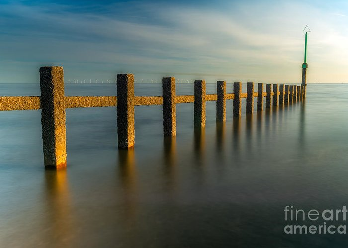 Groynes Greeting Card featuring the photograph Seascape Wales by Adrian Evans