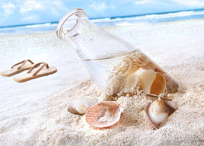 Beach Greeting Card featuring the photograph Seashells In A Bottle On The Beach by Sandra Cunningham