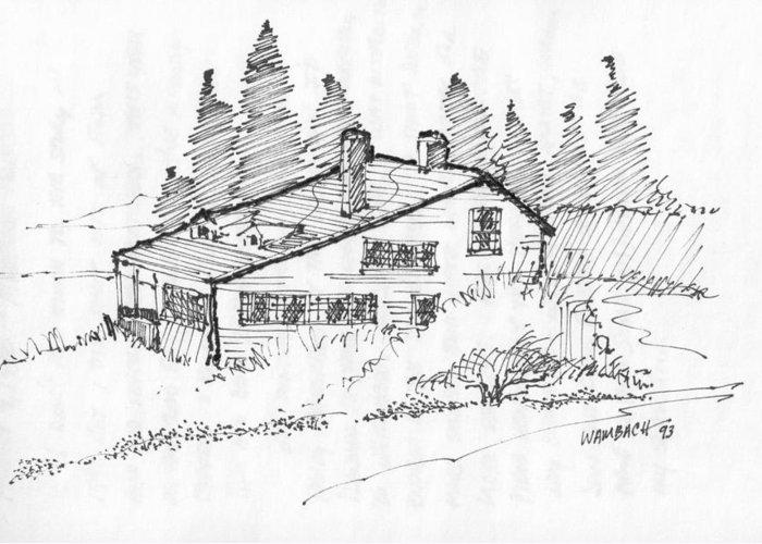 Monhegan Island Greeting Card featuring the drawing Seaside Cottage Monhegan Island 1993 by Richard Wambach