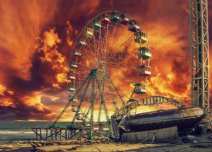 Seaside Ferris Wheel Greeting Card featuring the photograph Seaside Ferris Wheel by Kim Zier