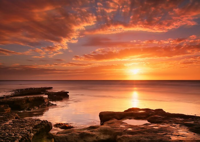 Sun Greeting Card featuring the photograph Seaside Reef Sunset 15 by Larry Marshall