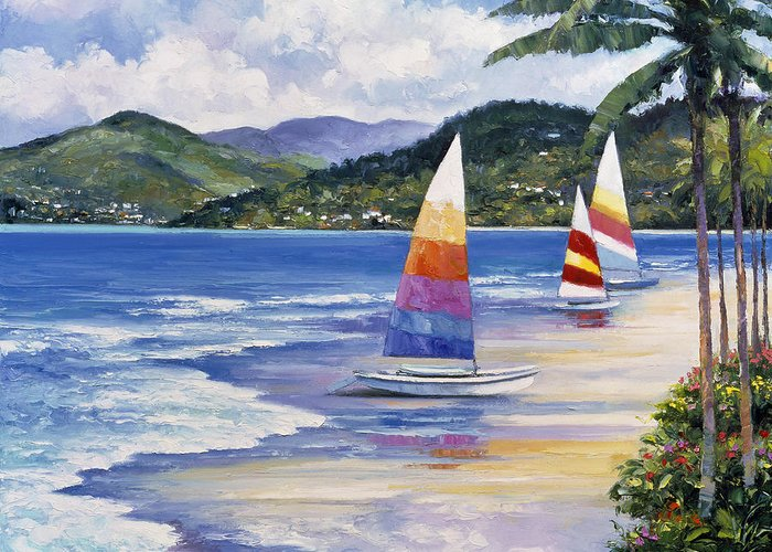Pallet Greeting Card featuring the painting Seaside Sails by John Zaccheo