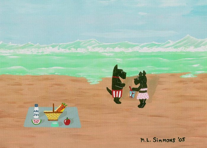 Landscape Greeting Card featuring the painting Seaside Scotties by Mary Louise Simmons