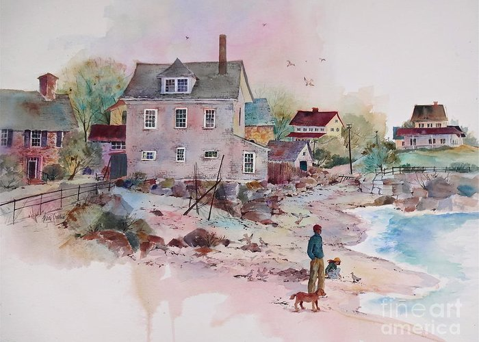New England Village Greeting Card featuring the painting Seaside Village by Sherri Crabtree