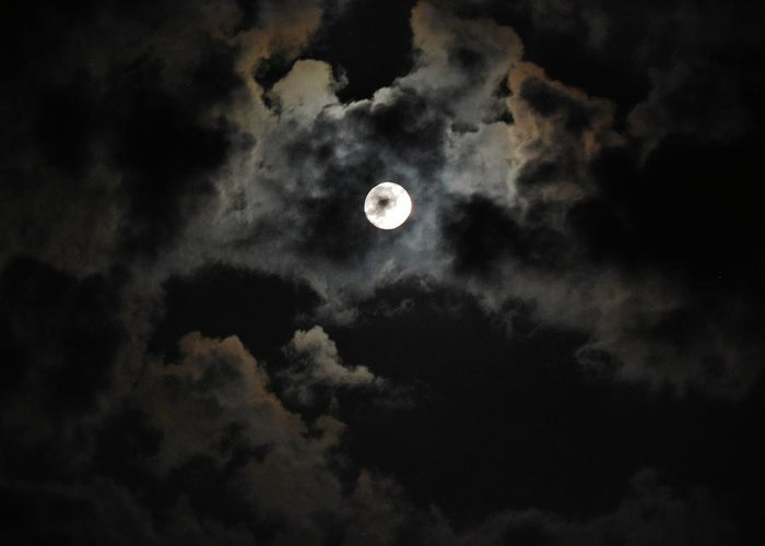 Moon Greeting Card featuring the photograph Seasonal Blue Moon II by Anthony Thomas