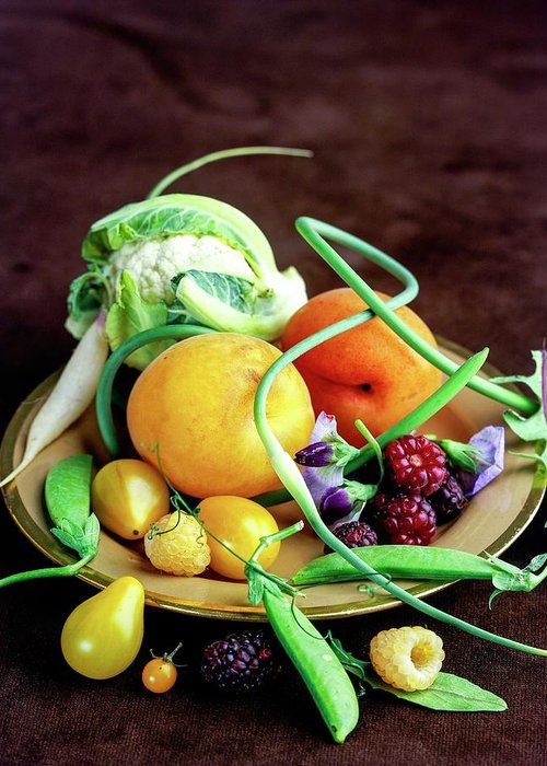 Fruits Greeting Card featuring the photograph Seasonal Fruit And Vegetables by Romulo Yanes