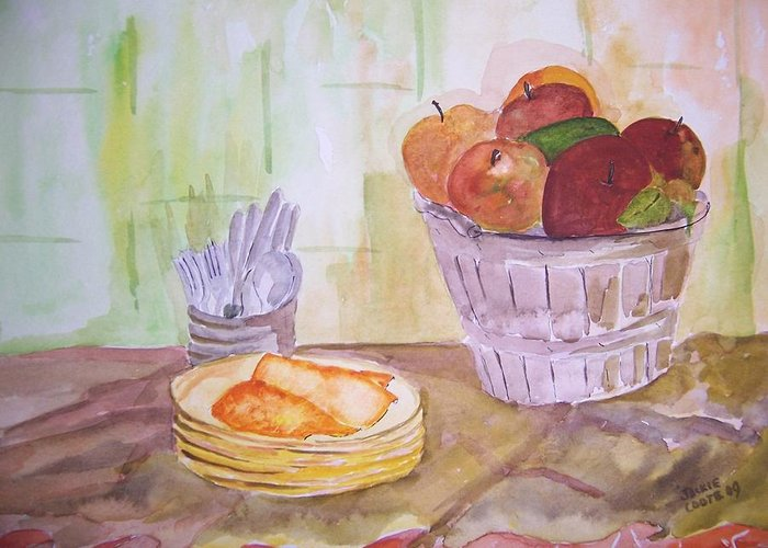 Basket Of Apples Greeting Card featuring the painting Season's Finest by Jacqueline Coote