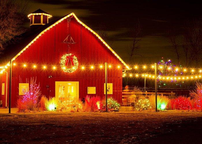 Christmas Greeting Card featuring the photograph Seasons Greetings Barn by Teri Virbickis