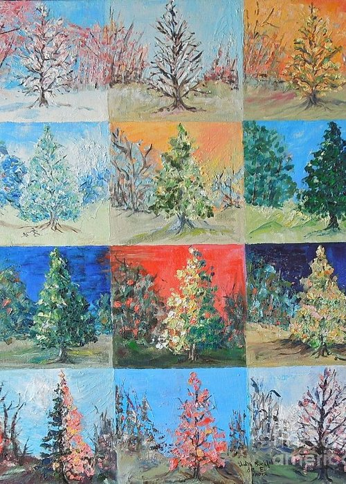 Tree Greeting Card featuring the painting Seasons in the Year of the Dawn Redwood - SOLD by Judith Espinoza