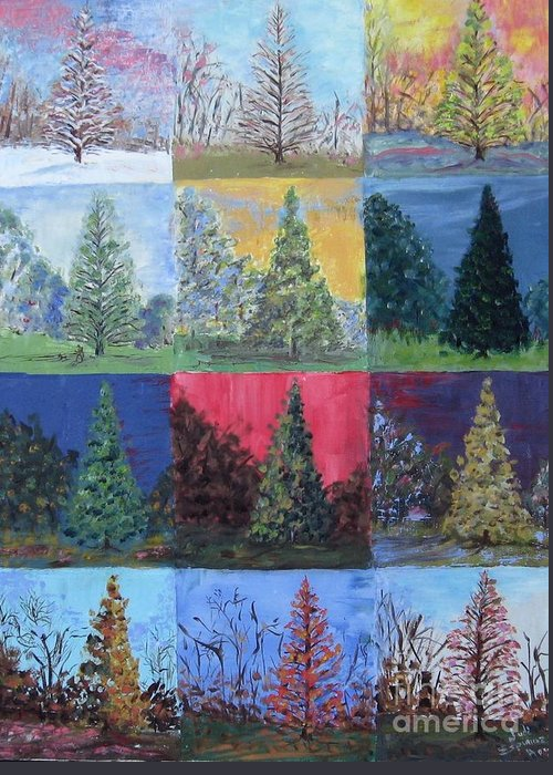 Trees With Different Backgrounds Greeting Card featuring the painting Seasons Of A Dawn Redwood - Sold by Judith Espinoza