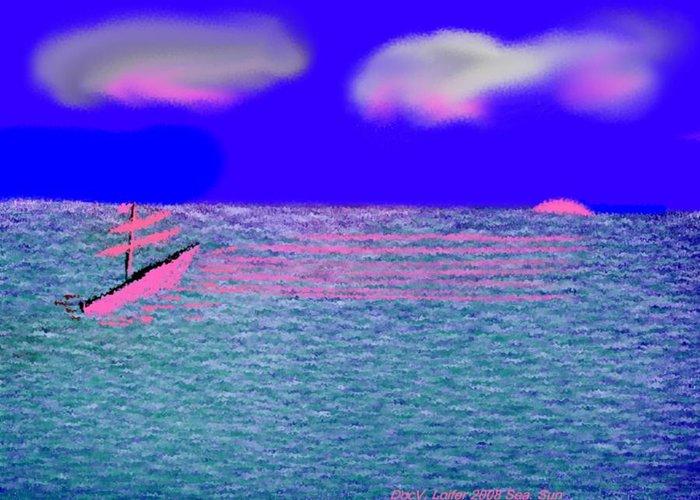 Early Evening Greeting Card featuring the digital art Sea.sun by Dr Loifer Vladimir