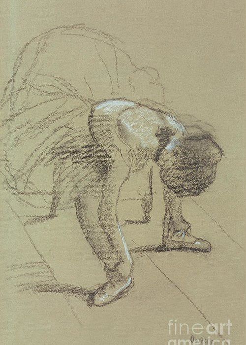 Female Greeting Card featuring the drawing Seated Dancer Adjusting Her Shoes by Edgar Degas