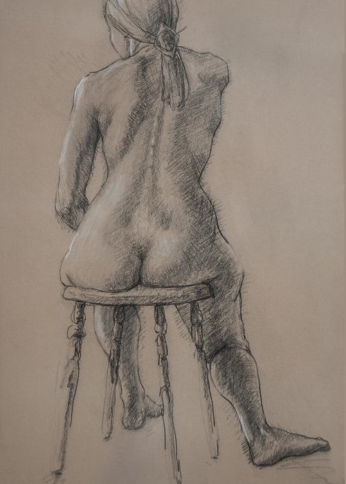 Figurative Greeting Card featuring the drawing Seated Figure by Sarah Parks
