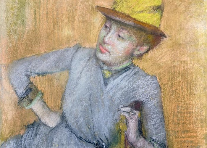 Sitting Greeting Card featuring the pastel Seated Woman by Edgar Degas