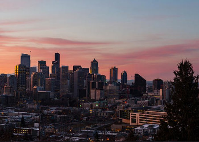 Seattle Greeting Card featuring the photograph Seattle Cityscape Sunrise by Mike Reid