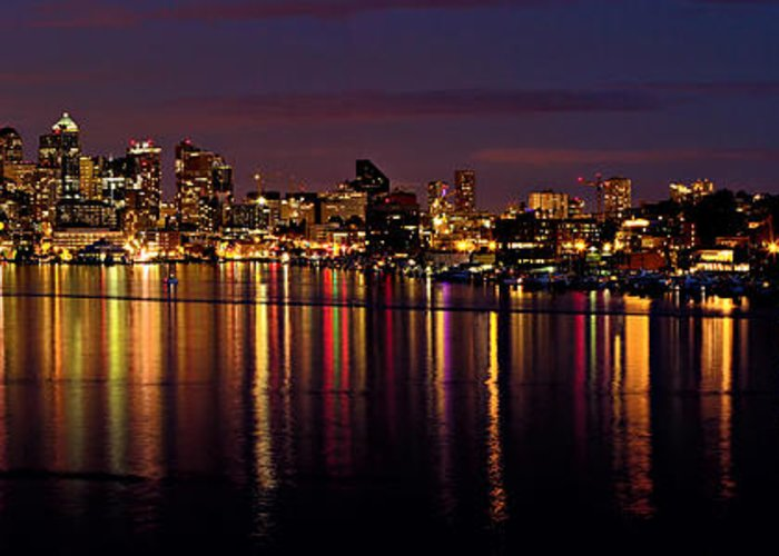 Reflection Greeting Card featuring the photograph Seattle Night Reflections by Mary Jo Allen