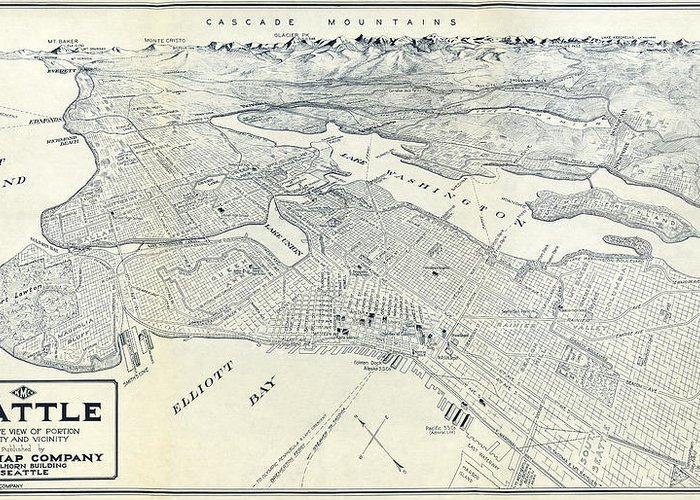 Seattle Poland Map 1925 Greeting Card For Sale By Compass Rose Maps