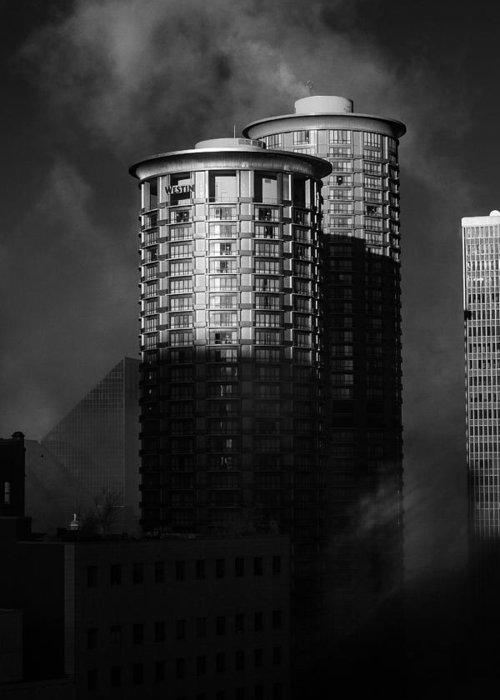 Montana Greeting Card featuring the photograph Seattle Towers by Paul Bartoszek