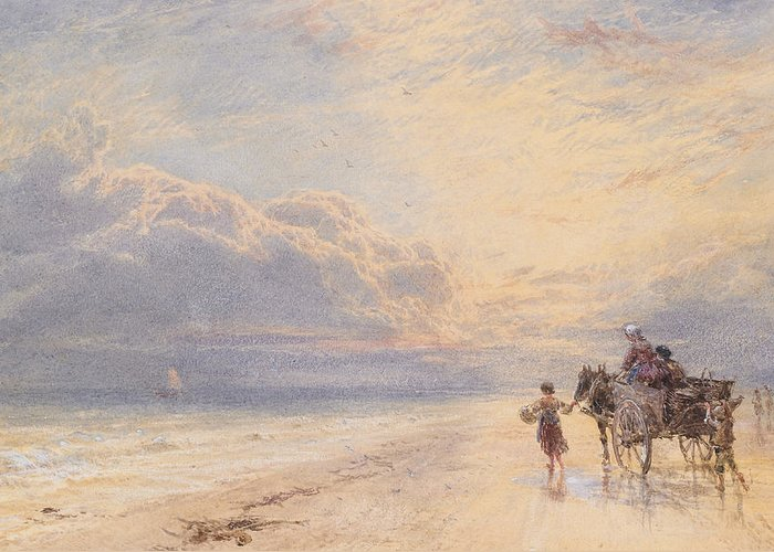 Seaweed Greeting Card featuring the painting Seaweed Gatherers by Myles Birket Foster