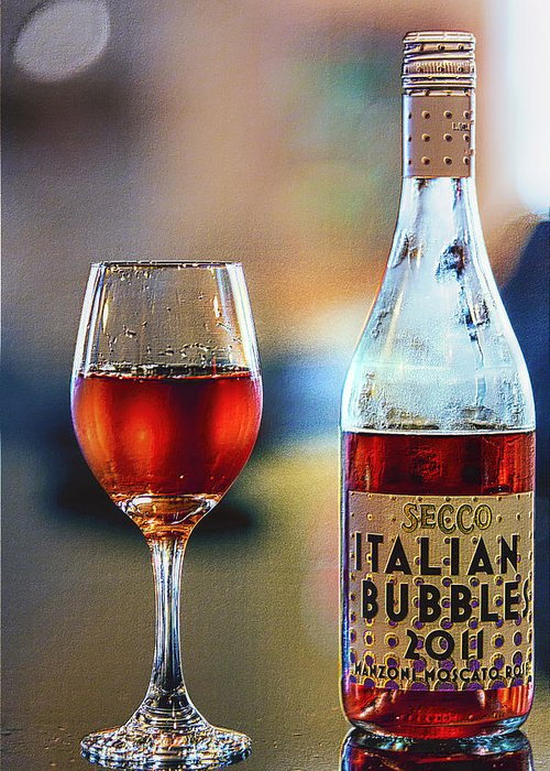 Sparkling Greeting Card featuring the photograph Secco Italian Bubbles by Bill Tiepelman
