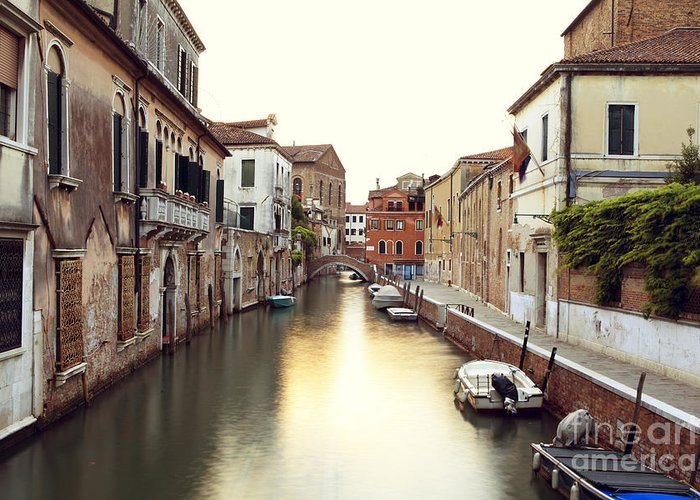 Venice Greeting Card featuring the photograph Secluded Canal In Venice Italy by Ernst Cerjak