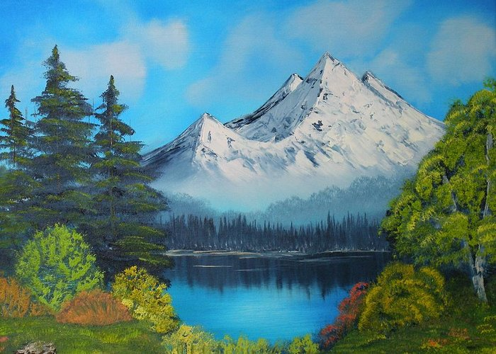 Mountain Greeting Card featuring the painting Secluded Lake by Aaron Thomas