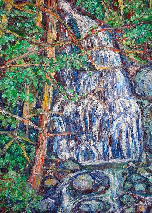 Waterfall Greeting Card featuring the painting Secluded Waterfall by Kendall Kessler