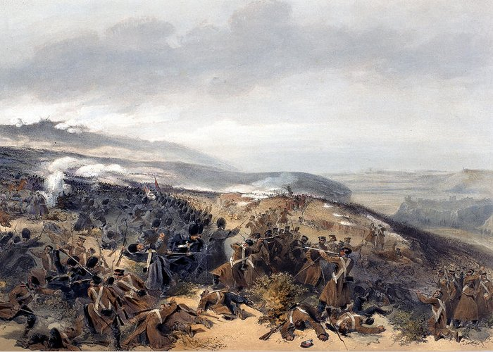 Battlefield Greeting Card featuring the drawing Second Charge Of The Guards When by William 'Crimea' Simpson