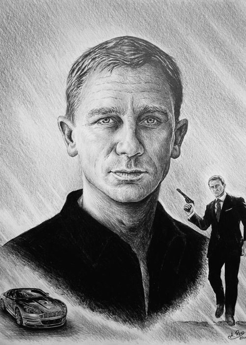 Daniel Craig Greeting Card featuring the painting Secret Agent by Andrew Read