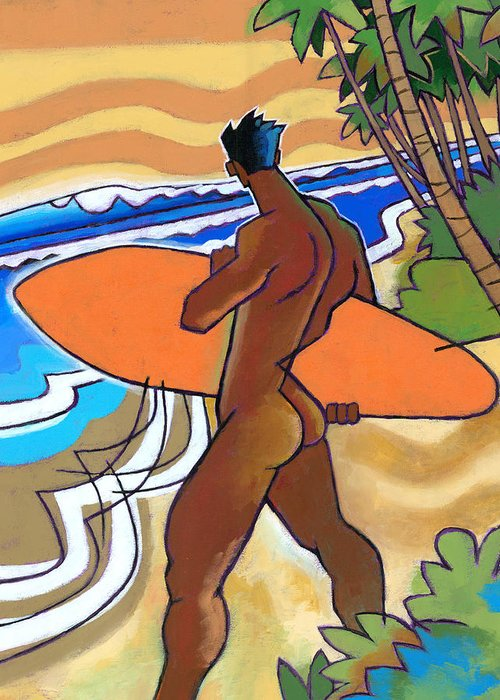 Surfer Greeting Card featuring the painting Secret Break by Douglas Simonson