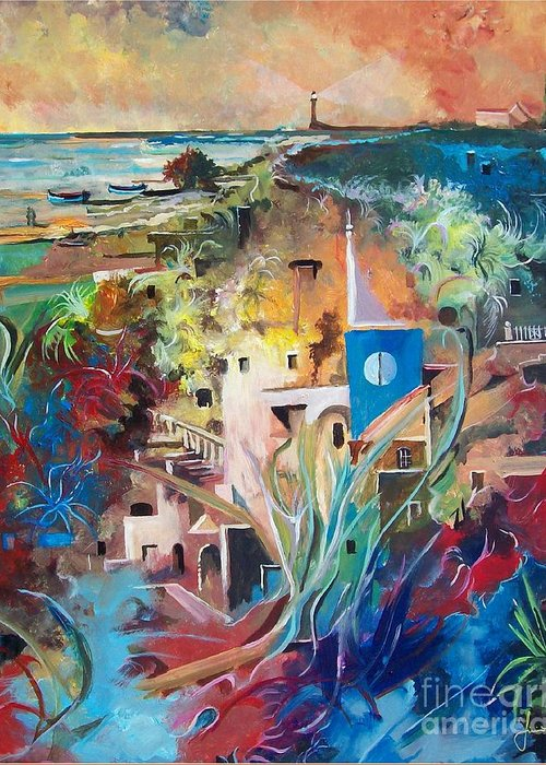 Abstract Greeting Card featuring the painting Secret Cove by Sinisa Saratlic