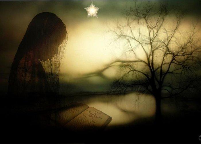 .star Like Pentagram In The Book Greeting Cards