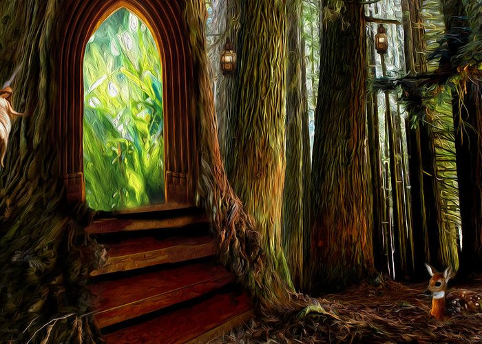 Forest Greeting Card featuring the digital art Secrets Of The Forest by Yvonne Pfeifer