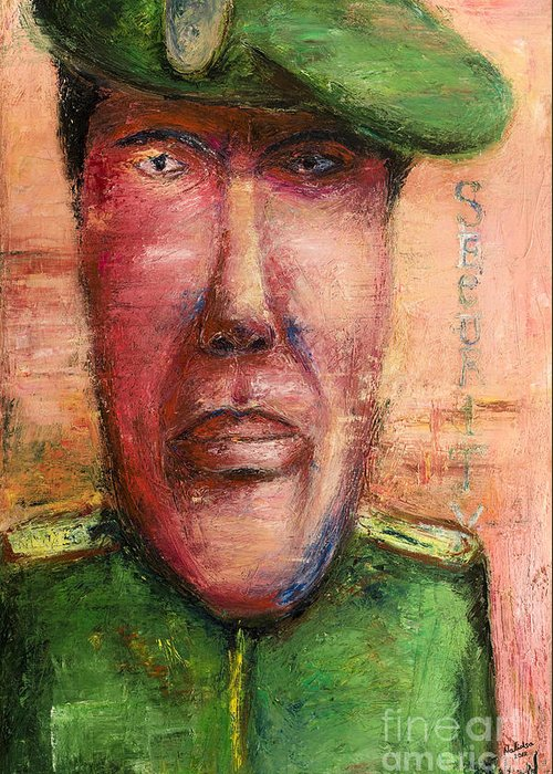 Guard Greeting Card featuring the painting Security Guard - 2012 by Nalidsa Sukprasert