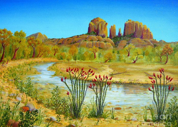 Sedona Greeting Card featuring the painting Sedona Arizona by Jerome Stumphauzer