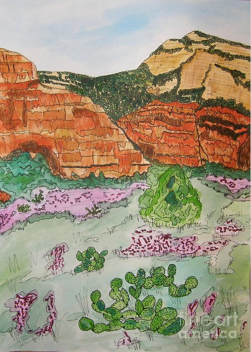 Sedona Greeting Card featuring the painting Sedona Mountain With Pears And Clover by Marcia Weller-Wenbert