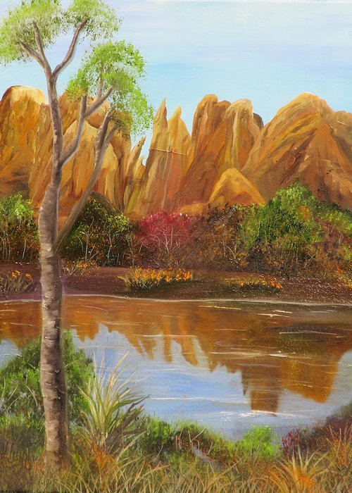 Sedona Greeting Card featuring the painting Sedona Summer by Mikki Alhart