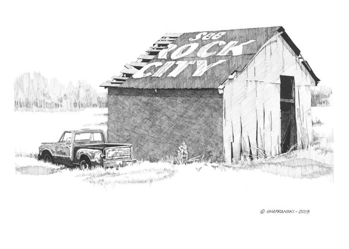Pen And Ink Greeting Card featuring the drawing See Rock City by Paul Shafranski