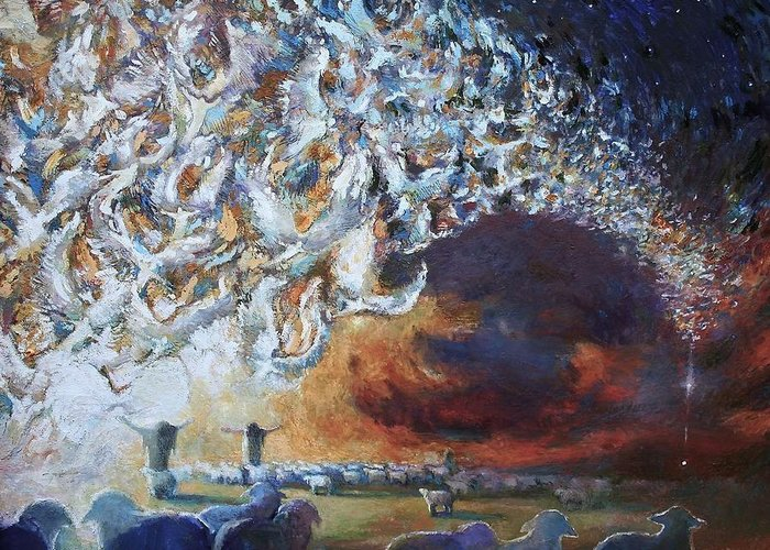 Christmas Greeting Card featuring the painting Seeing Shepherds by Daniel Bonnell