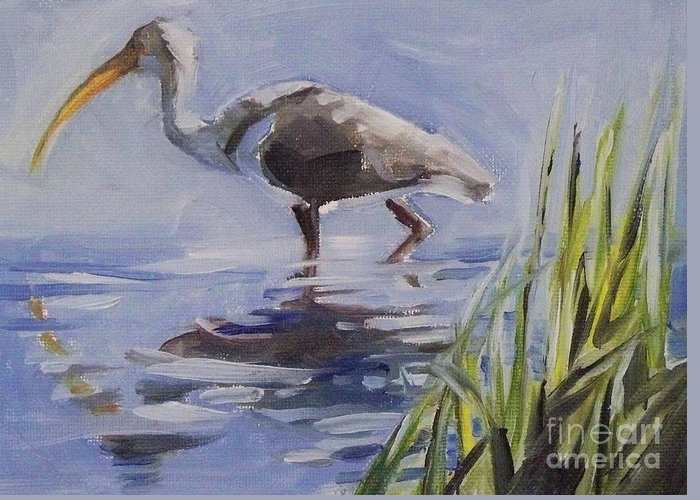 Doodlefly Greeting Card featuring the painting Seeking Fish by Mary Hubley