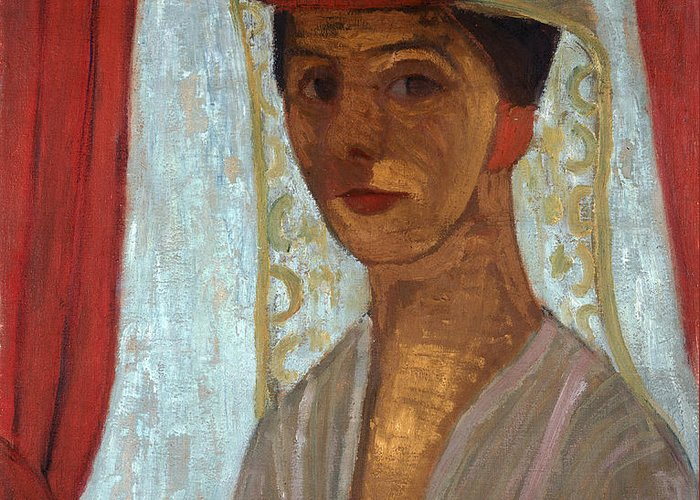Female Greeting Card featuring the painting Self Portrait, 1906-7 by Paula Modersohn-Becker