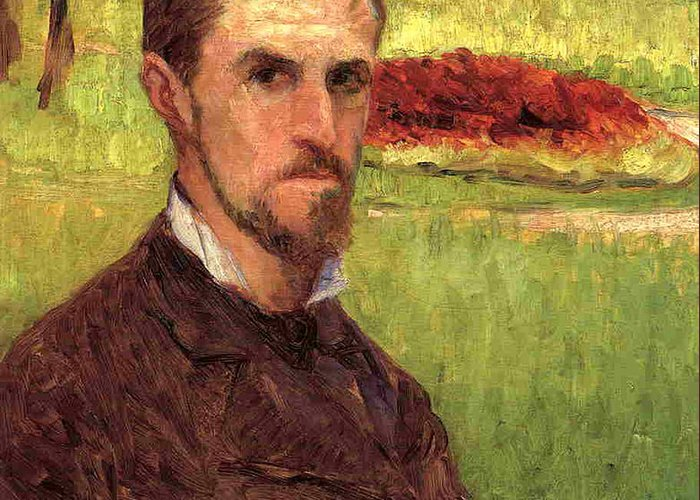 Male Greeting Card featuring the painting Self Portrait by Gustave Caillebotte