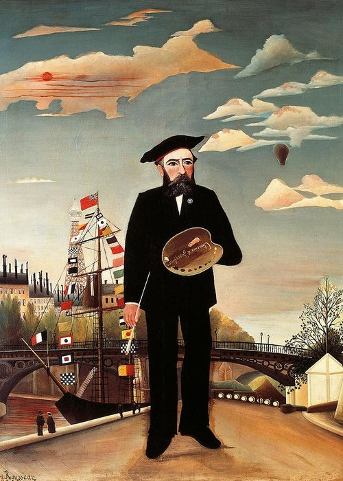 Art Greeting Card featuring the painting Self Portrait by Henri Rousseau