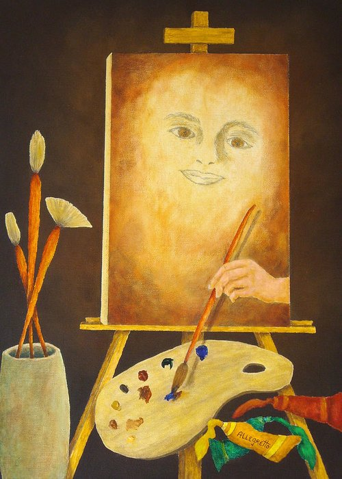Pamela Allegretto Greeting Card featuring the painting Self-portrait In Progress by Pamela Allegretto
