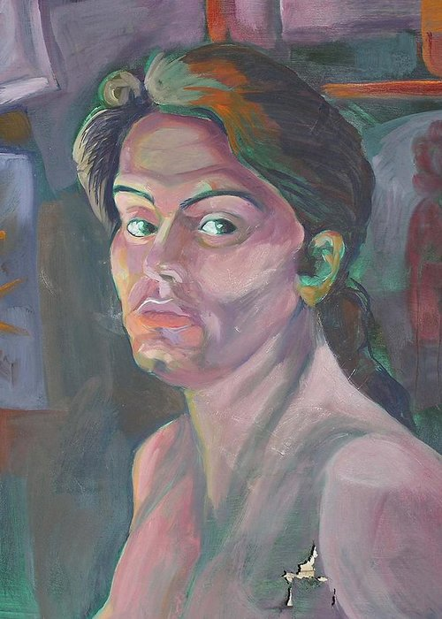 Greeting Card featuring the painting Self Portrait by Julie Orsini Shakher