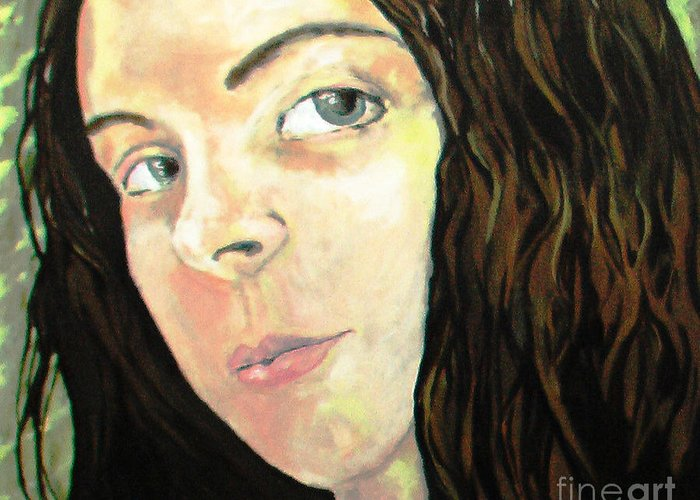 Self Portrait Greeting Card featuring the painting Self Portrait by Monica Withers