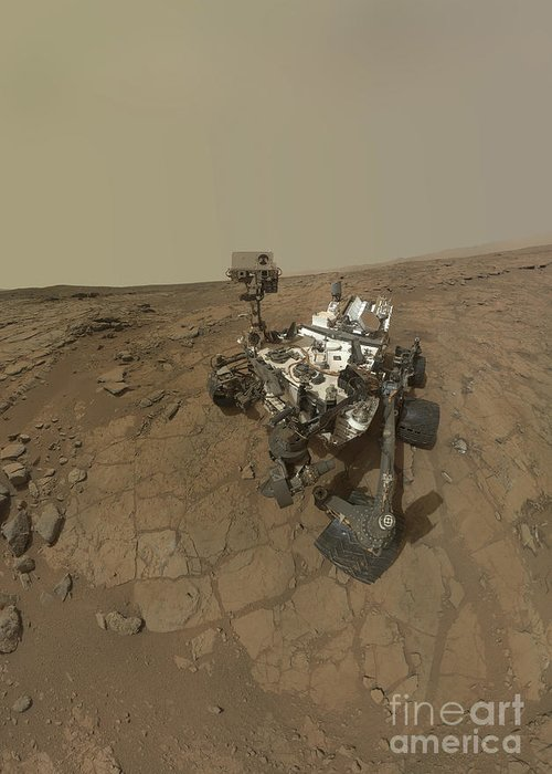Vertical Greeting Card featuring the photograph Self-portrait Of Curiosity Rover by Stocktrek Images