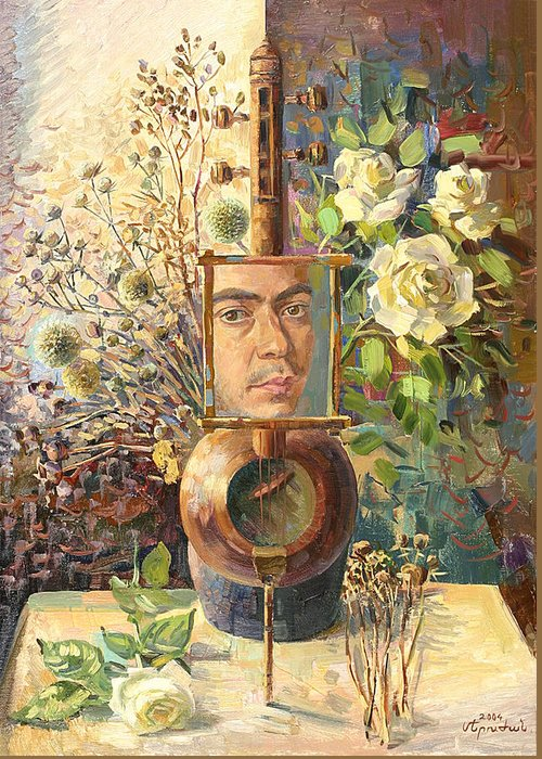 Self-portrait Of Khachatryan Meruzhan Greeting Card featuring the painting Self-portrait Our Two Parties by Meruzhan Khachatryan